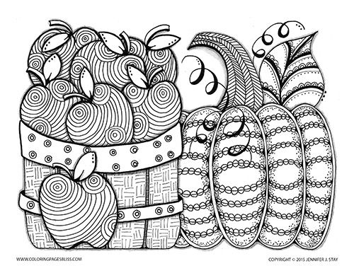 Autumn Coloring Page For Grown Ups And Adults Apples Pumpkin To Color Fall