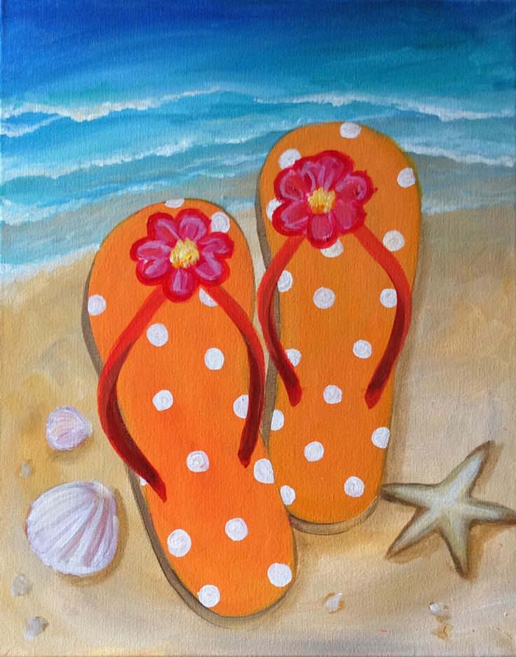 Beach, starfish, shells, flip flop painting. Cute beginner painting inspiration.