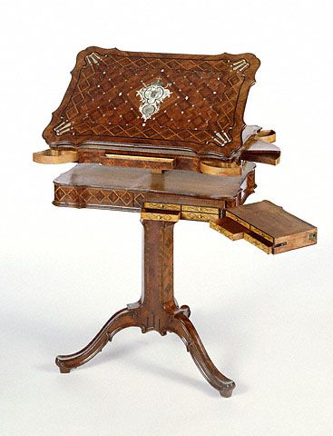 Reading and Writing Stand:Desk  with all drawers open: by 18th century cabinetmaker David Roentgen.