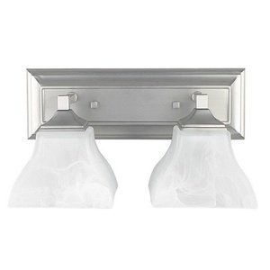 Sunset Lighting F3642-80 Two Light Bath Bracket with Rectangular Backplate, Bright Satin Nickel Finish with Faux Alabaster Glass by Sunset Lighting. $42.09. Mounting Direction: Down / Shade Included: TRUE.