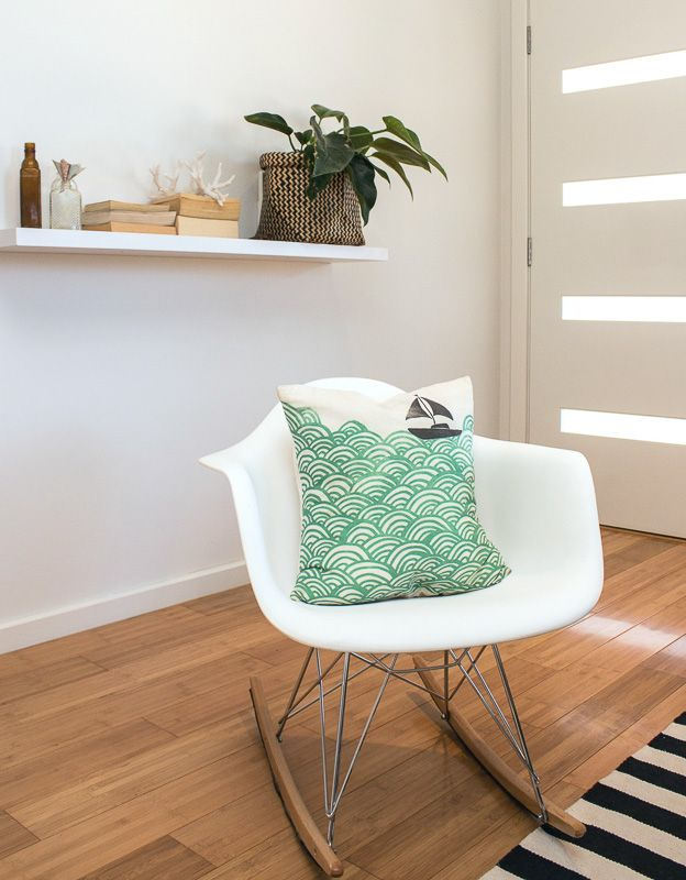 Living Room detail - child's Eames chair with floating shelf (SD Interiors)