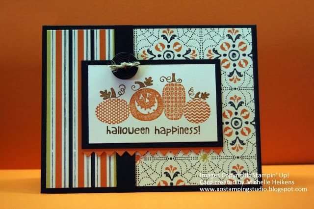Halloween Happiness - Stampin' Up - Michelle Heikens - www.xostampingstudio.blogspot.com - XO Stamping Studio - Witches' Brew Designer Series Paper - Halloween greeting card - Halloween paper crafts