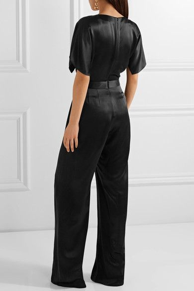 Maiyet - Wrap-effect Organza-trimmed Silk-satin Jumpsuit - Black - US10