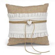 Rustic Romance Burlap Ring Pillow