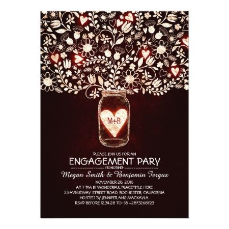 Rustic Wedding Engagement Party Mason Jar Invites - tap, personalize, buy right now!