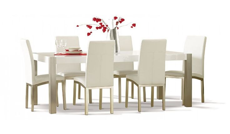 Bolero 7 piece dining suite is featured in a white gloss finish & brushed stainless steel legs with 6 white chairs.