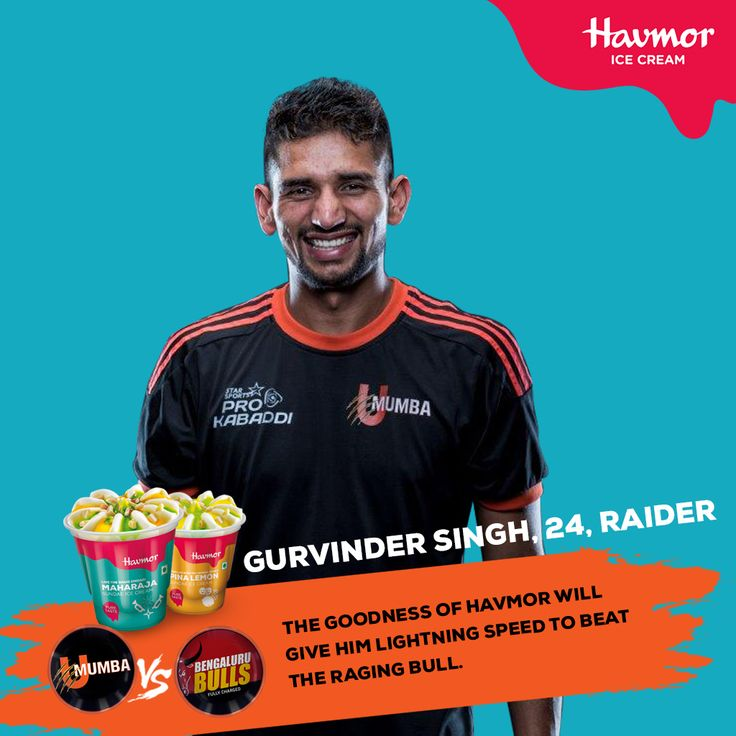 The Goodness of #Havmor is the elixir, which will give Gurvinder Singh lightning speed in today's match against the Bengaluru Bulls. #OneTeamOneZid