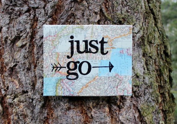 "8x10 ""Just go"" vintage map quote canvas by Houseof3 on Etsy"
