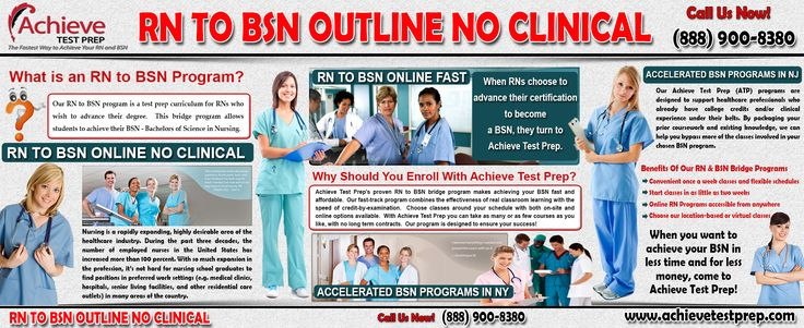 Visit this site http://www.achievetestprep.com/ for more information on RN To BSN Outline No Clinical. Accelerated Bsn Programs In Nj is based on health issues related to nutrition, elimination, oxygenation, fluid and electrolyte balance, and rest and activity. Evaluating lab results, IV fluid management, Sleep disorders, Elimination/Urinary disorders are also included in this course.