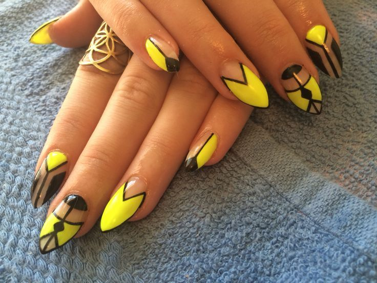 cool Neon yellow and black negative space nails almond shape...