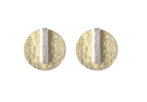 ørestikker med stav i sterlingsølv Til disse ørestiks skal der bruges følgende materialer:  1 par ørestik med firkantet stav, sterling sølv 2 stk. børstede mønter 12mm, forgyldt sterlingsølv