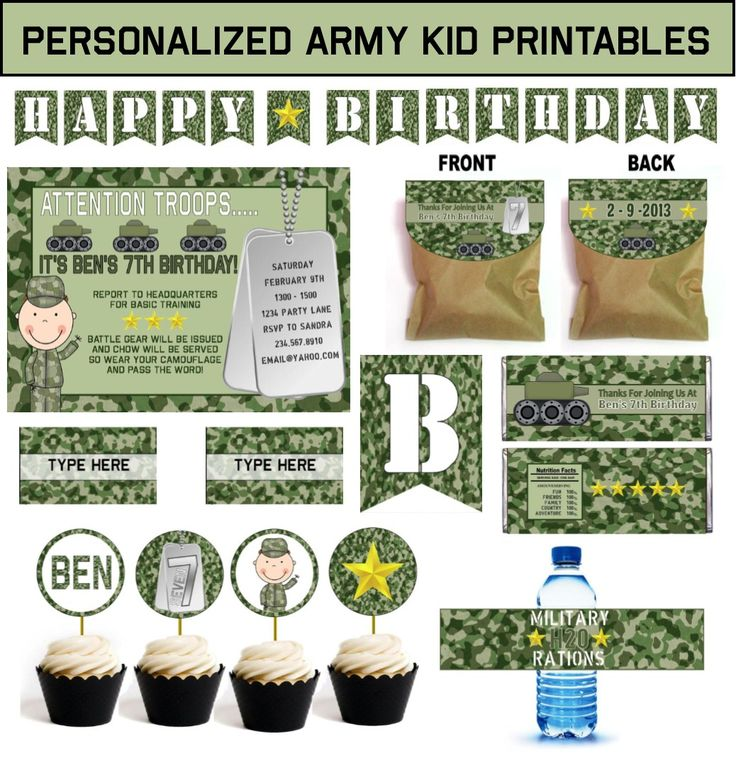 Kids Army Party Theme Birthday - Games, Ideas, and Supplies including personalized invitations ...