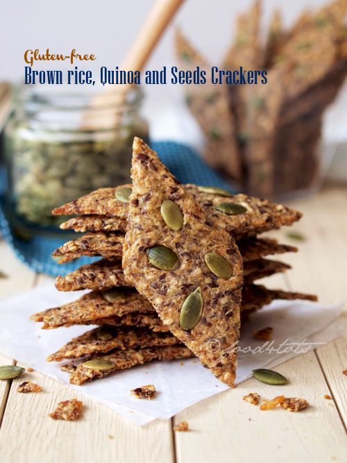 Gluten-free Brown Rice, Quinoa and Seeds Crackers - It's one healthy snack that you can munch non-stop without any guilt. #Food-4Tots