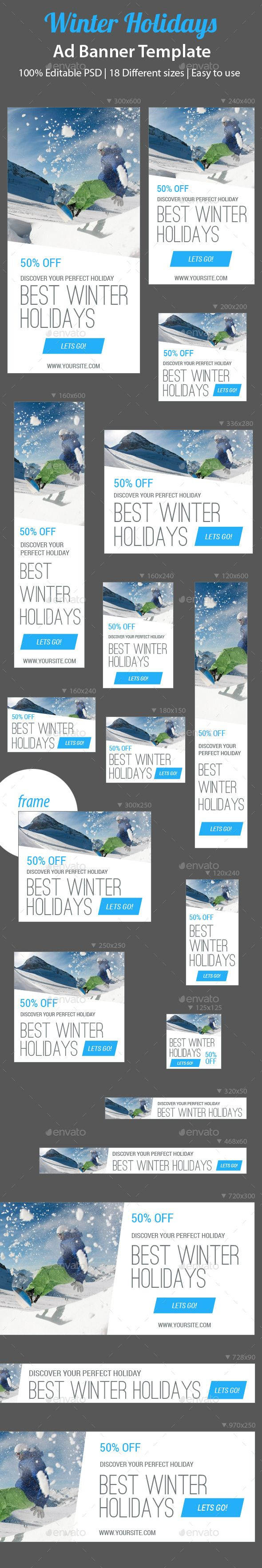 Winter Holidays Web Ad Banners Template PSD   Buy and Download: http://graphicriver.net/item/winter-holidays-web-ad-banners/9169588?WT.ac=category_thumb&WT.z_author=ksioks&ref=ksioks