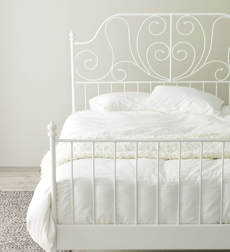 IKEA LEIRVIK Bed frame White/lury Standard King 17 slats of layer-glued  birch adjust to your body weight and increase the suppleness of the  mattress.