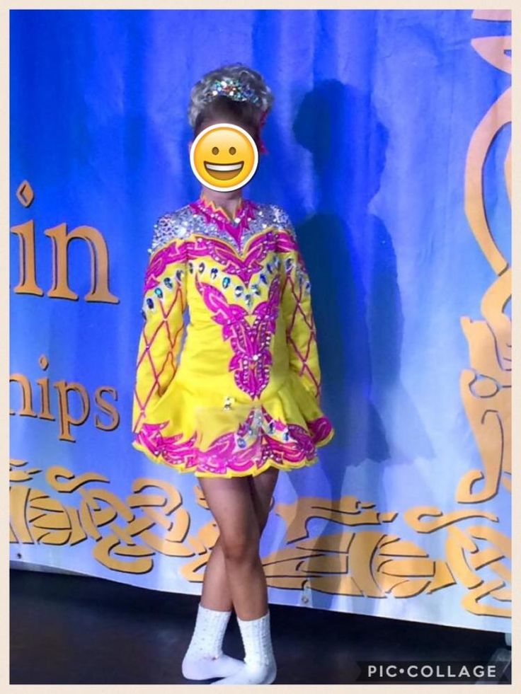 Marvelous Yellow Siopa Rince Irish Dance Dress Solo Costume For Sale