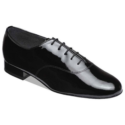 Supadance 5000  Mens Ballroom shoe in Black Patent or Black Leather. Regular and Wide Fittings - New Impact Absorbing Low Heel. Full Suede Sole.   Price: 104.60€