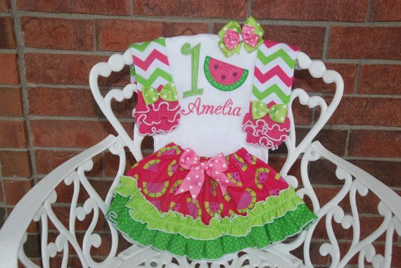 Watermelon Birthday Outfit Watermelon First by RuffleDarlings
