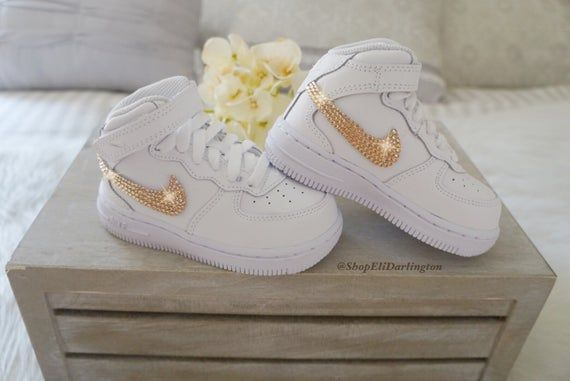 Nike Air Force 1 Kid's Sneakers with Rose Gold Swarovski