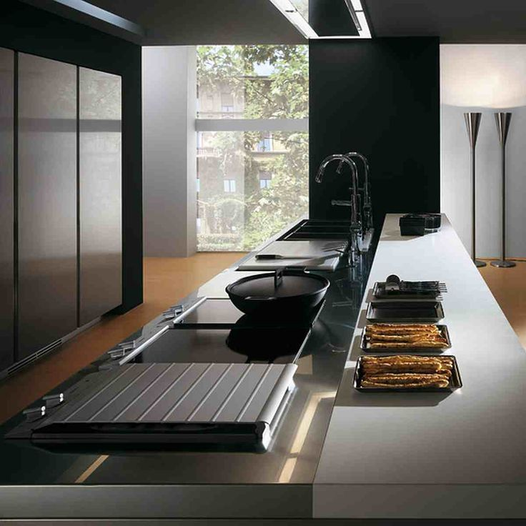 Contemporary Stainless Steel Kitchen Cabinets   Elektra Plain Steel By  Ernestomeda   DigsDigs