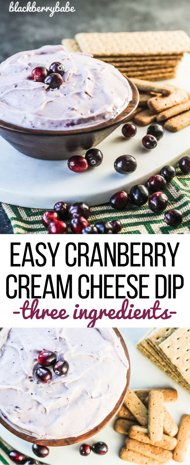 Easy Cranberry Cream Cheese Dip, just three easy ingredients! Perfect appetizer for Thanksgiving or Christmas! AND it uses leftover cranberry sauce!