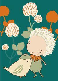 Bird - postcard illustration by Terese Bast.  #Bird #flower #friends #teresebast
