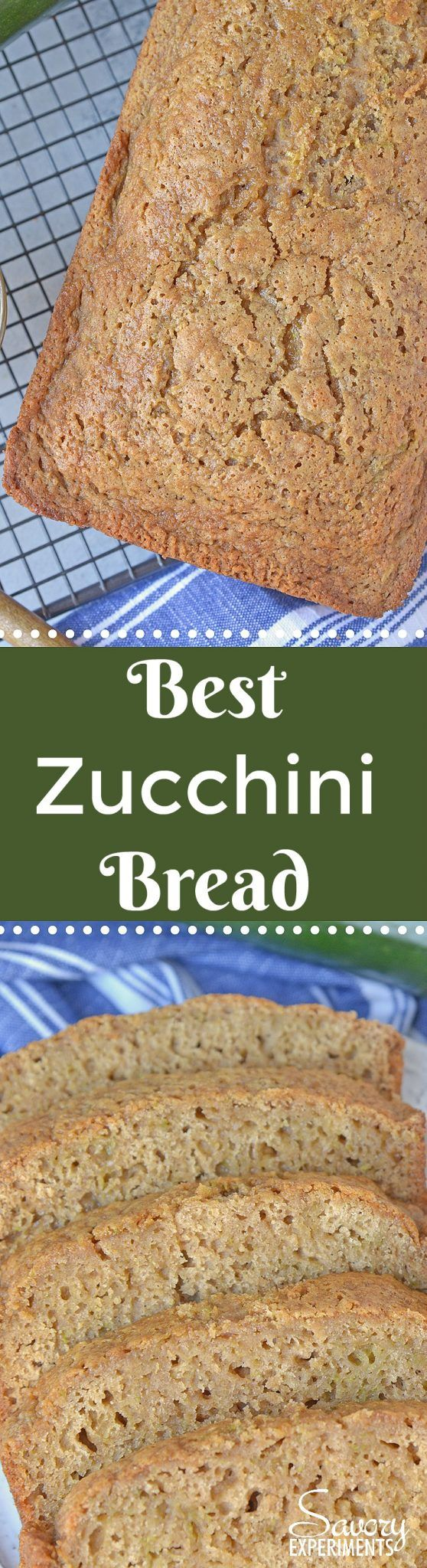 Best Zucchini Bread is the most moist zucchini bread recipe made by a pastry chef. One of the best zucchini recipes ever! Serve with zingy molasses butter. #bestzucchinibread #zucchinirecipes www.savoryexperiments.com via @savorycooking