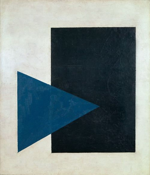 Kazimir Malevich,Suprematist painting: black rectangle, blue triangle, 1915. Oil on canvas, 66.5 x 57cm. Stedelijk Museum, Amsterdam