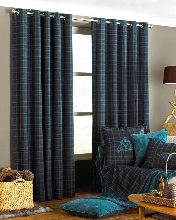 Riva Paoletti Verbier Teal Tartan Check Eyelet Curtain Soft Furnishings Blue Emporium Home Interiors