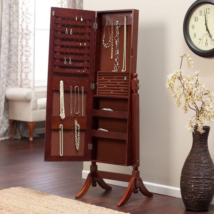 cherry jewelry armoire cheval mirror - Ensemble Vanite Armoire