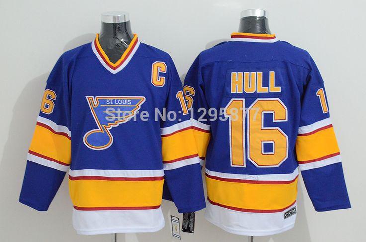 Купить онлайн хоккей кофта сент-луис блюз #16 халл синий кофта, заказ смешивания, вышитые логотипы MMK310241