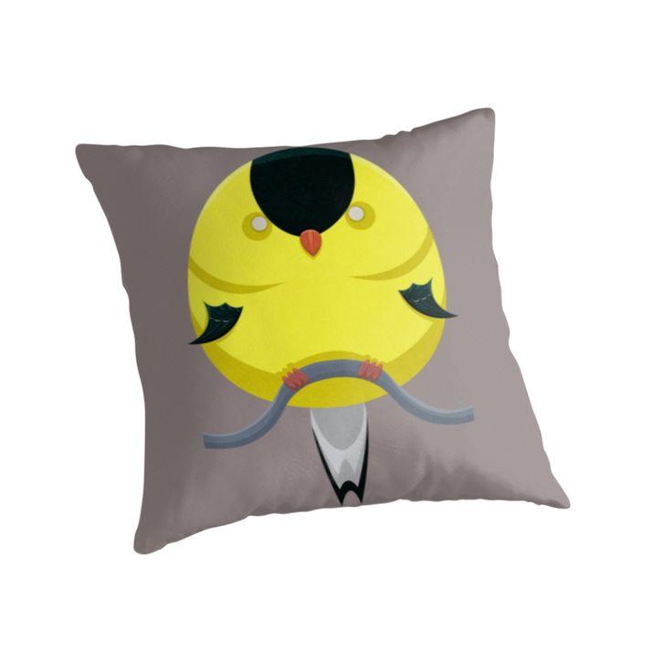 Cartoon Finch Pillows by AnMGoug on Redbubble. #pillow #finch #bird
