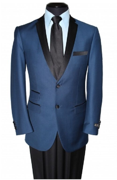 NEW MENS TWO BUTTON MODERN FIT SOLID BLUE WITH BLACK CONTRAST NOTCH LAPEL JACKET #TAZIOMJ136S #OneButton