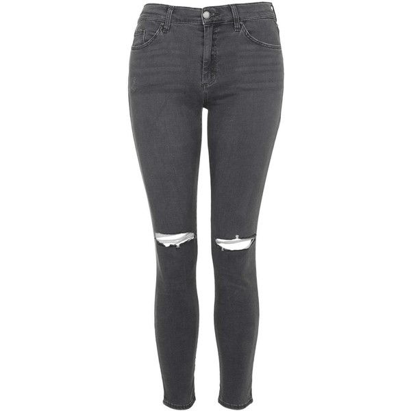 TOPSHOP MOTO Dark Grey Rip Leigh Jeans ($61) ❤ liked on Polyvore featuring jeans, grey, torn jeans, torn skinny jeans, mid-rise jeans, super destroyed skinny jeans and destroyed jeans