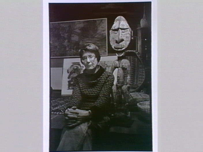 Inge King, sculptor, in her home at Warrandyte, Victoria 1990. Photograph by Emmanuel Santos. Gelatin silver, selenium toned.