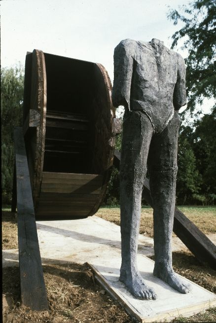 Magdalena Abakanowicz - Figure with Wheel alum. wood