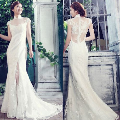 Ivory White Beaded Lace Modern Vintage Cheongsam Wedding Bridal Dress SKU-118351