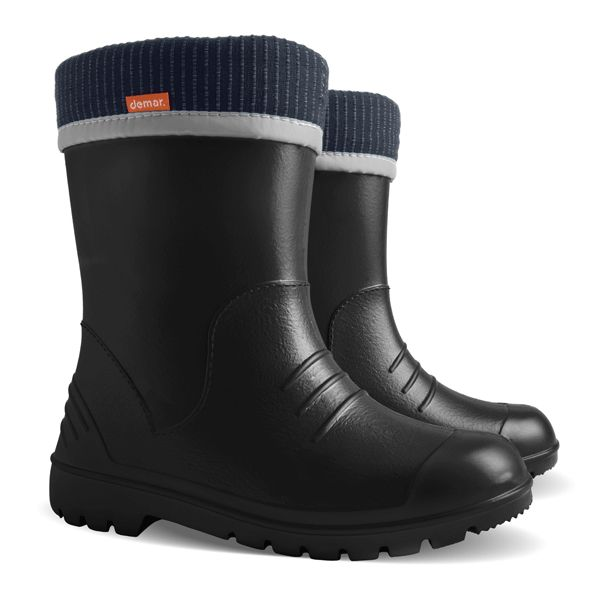 #Black #wellington #boots for kids ! , super for fun in #rain, protect before #mud and water. With #cotton inside for better #comfort !