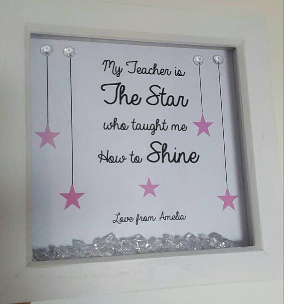 Teacher gift frames. A Thank You Teacher gift that is available to personalise. White 6x6 frame.