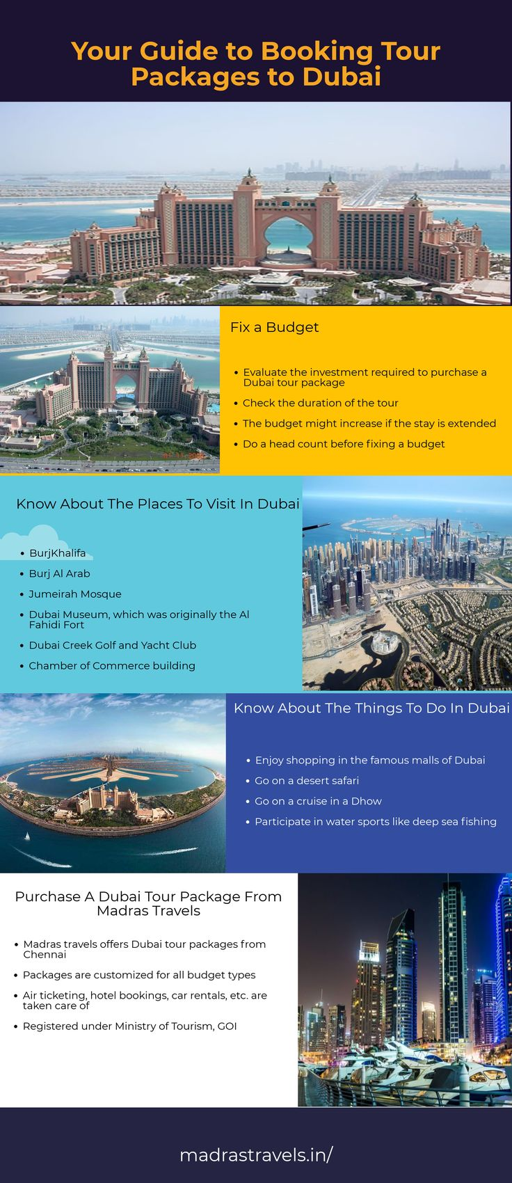 Planning to visit Dubai for the best affordable prices from Chennai, then Madras Travels help you out here. We have best customized Dubai tour packages from Chennai for all budget types.