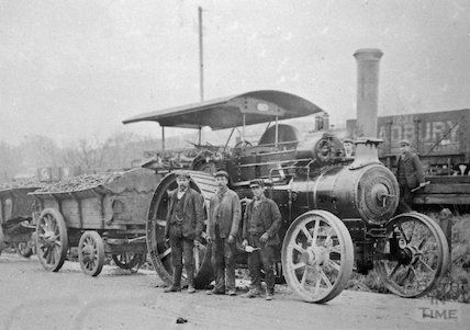 Steam wagon hauling loads of coal in the Radstock area, c.1900s