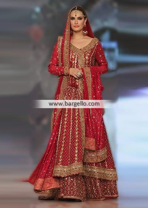 Traditional Red Angrakha Bridal Sharara Dress Top:  Color: Carmine Fabric: Crinkle Chiffon Compl