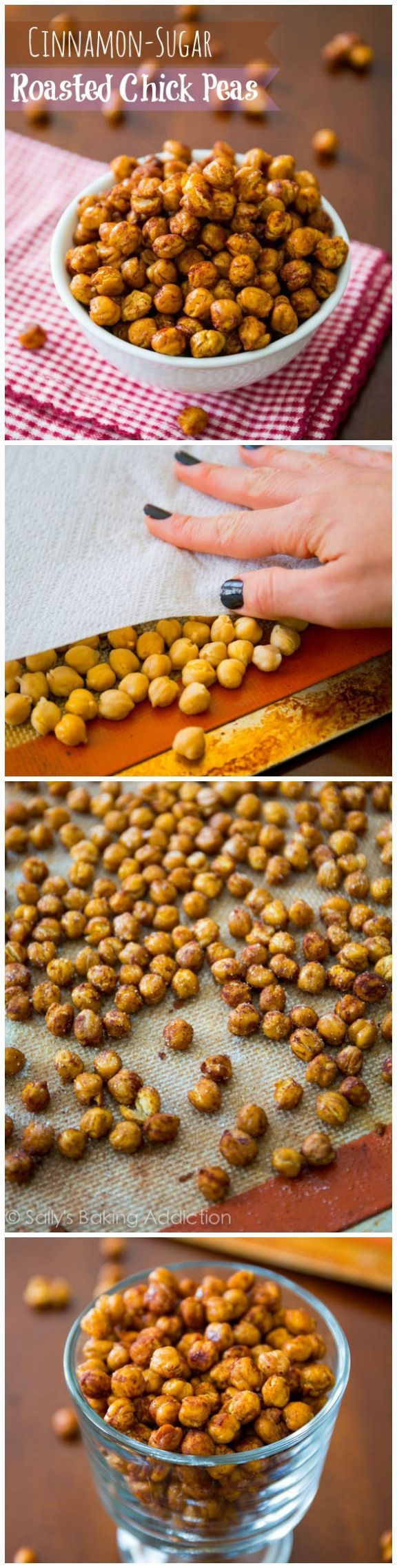 Chickpeas roasted to cinnamon-spiced perfection. Only 4 ingredients required. Crunchy, sweet, healthy, and definitely irresistible!