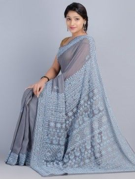 Grey-Blue Chiffon Chikankari Embroidered Saree by Kanish Bhargava