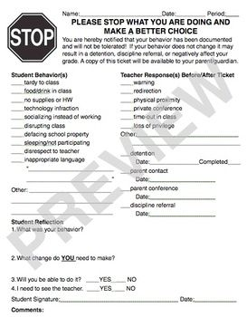 Behavior Form - perfect for middle school & high school!  Keep copies for parent teacher conferences