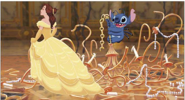Belle and Stitch - These were the funniest previews for a movie I've ever seen Stitch would just come into a random movie and ruin the scene it was hilarious