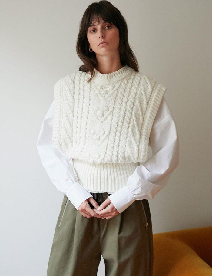 Pixie Market Oversized Cream Knit Vest in 2020   Knit vest