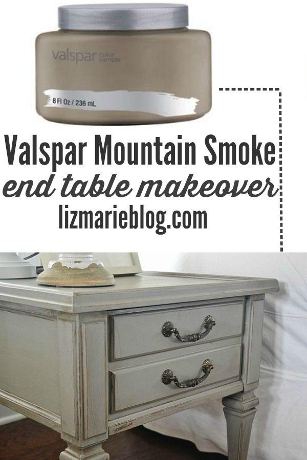 Mountain smoke end table makeover & a gorgeous neutral living room - lizmarieblog.com Valspar mountain smoke is the PERFECT gray!