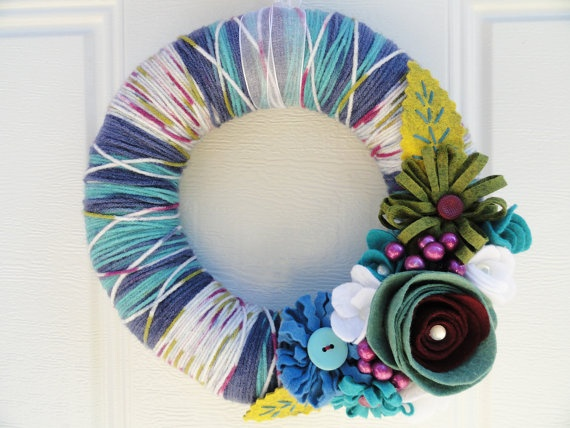 Yarn and Felt Flower Wreath- 10in- Confetti Connie, $32.