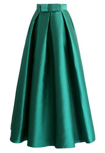Bowknot Pleated Full Maxi Skirt in Green